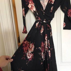 Wren & ivory floral wrap dress